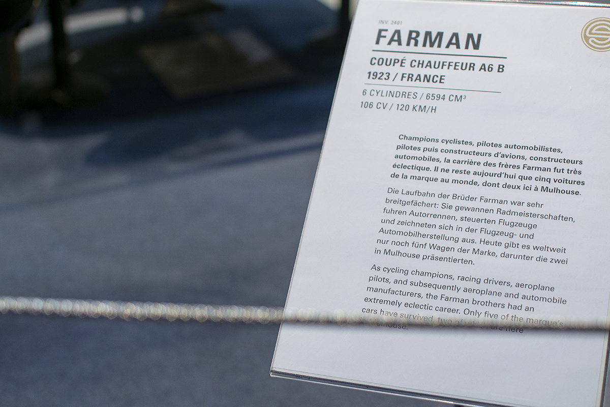 Farman A6 B Coupé chauffeur 1923 - Cité de l'automobile, Collection Schlumpf 2020